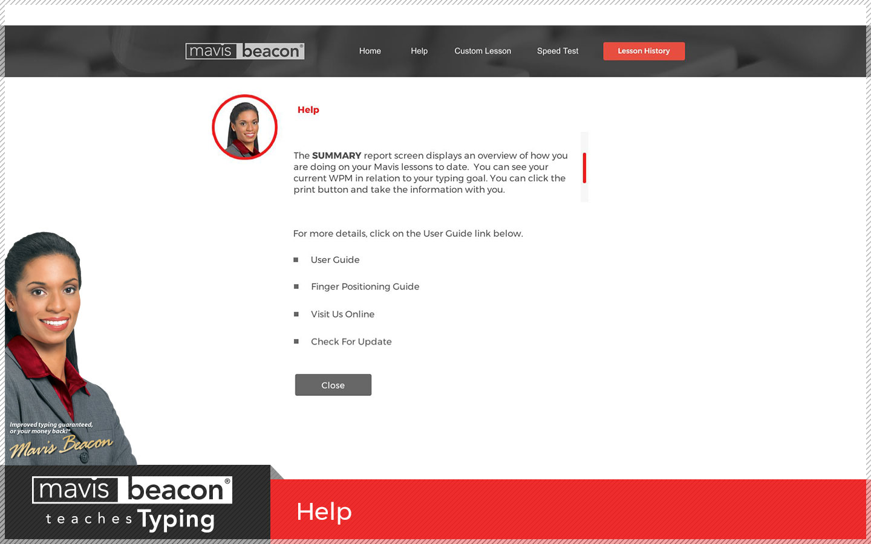 Mavis Beacon Teaches Typing Help