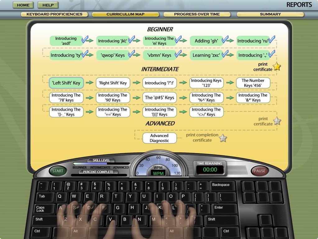 Mavis Beacon Teaches Typing Deluxe Progress Charts